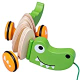 OFAY Niños de Madera de Dibujos Animados Imagen iluminación Juguete Coche Set cocodrilo Cachorro niño pequeño Juguete de extracción,Verde