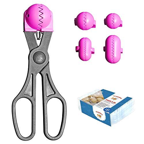 La Croquetera Pack- Utensilio Multiusos Color Rosa - 4 moldes Intercambiables para masas + Pack 20 Bandejas conservación - 100% español : Patentado y Fabricado en España