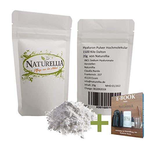 Naturellia 20g Vegan Hyaluronsäure Pulver pur hochmolekular hochdosiert für Kosmetik Serum Creme herstellung DIY geeignet