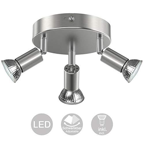 Creyer LED Deckenstrahler 3 Flammig, Schwenkbar LED Deckenleuchte, ø140mm (inkl. 3 x 4W GU10 LED Leuchtmittel, 400LM, Warmweiß) Modern Wohnzimmer LED Deckenspot, Rund LED Deckenlampe - Matte Nickel