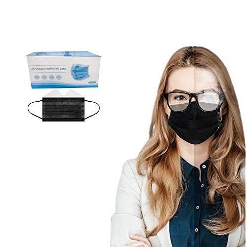 50 Stück Einmal-Mundschutz, Staubs-chutz Atmungsaktive Anti Nebel Mundbedeckung, Erwachsene, Sommerscha Bandana Face-Mouth Cover für Menschen mit Brille (Black, 50 Stück)