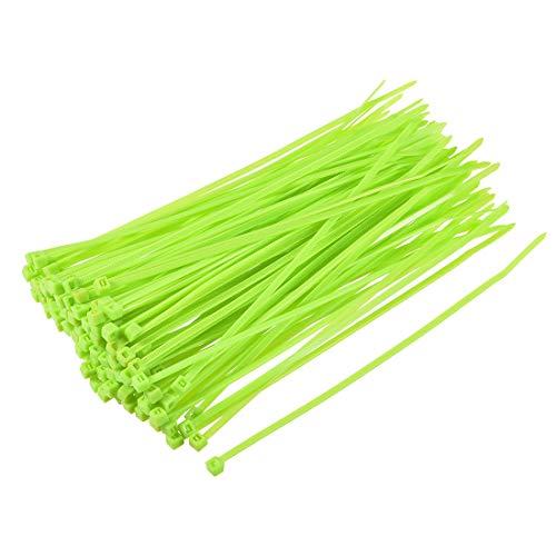 sourcing map Bridas Cables Nylon 150mmx2.5mm 200pcs Abrazaderas Verde Fluorescente