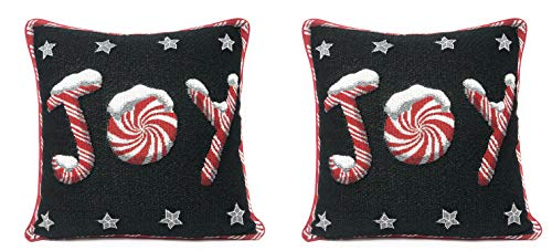 """DaDa Bedding Throw Pillow Covers - Set of 2 Peppermint Joy Tapestry - Christmas Holiday Stars Cushion Cases - 16' x 16"""" (12904)"""