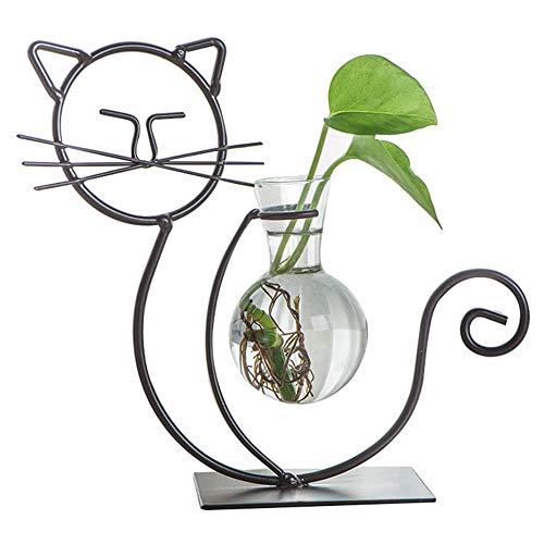 Cestbon Netter Katzen Pflanzer Vasen Töpfe Blumen Glasvase Dekorativ Für Wasserpflanzen,Schwarz