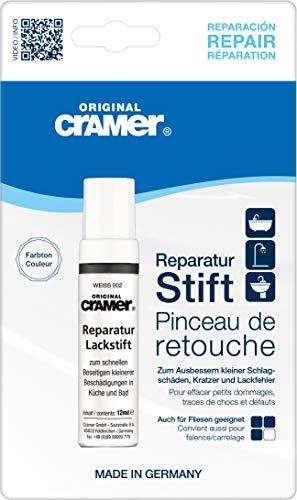 Cramer 15002DE Reparatur-Lackstift Email, Acryl, Keramik, reinweiß - Sanitärlack zum Ausbessern kleinerer Schäden an Badewannen, Duschwannen, Waschbecken und Fliesen