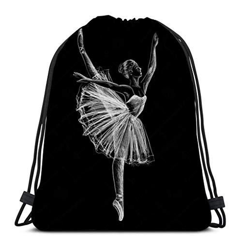 Lsjuee Drawstring Rucksäcke Taschen für Gym Home Travel Übung Ballerina Ballerina Zeichnung Kreide schwarzen Hintergrund