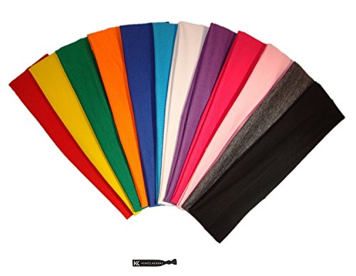 3' Cotton Headbands Pack Stretch Elastic Yoga Soft and Stretchy Sports Sweatbands Fashion Headband for Teens Women Girls by Kenz Laurenz (12 pc Headbands, Assorted)