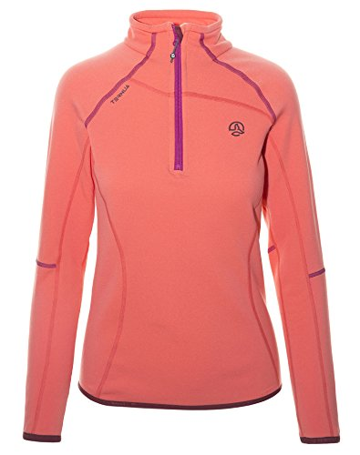 Ternua® Kanya 1/2 Zip W T-Shirt, Femmes L Orange (Magma Clair)