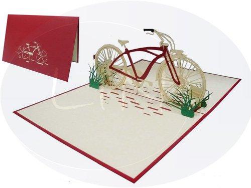 POP UP 3D Karte Geburtstagskarte Gutschein Fahrrad Venlo rot (#155)