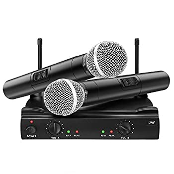 UHF Wireless Microphone System EIVOTOR Dual Channel Handheld Wireless Microphone with Professional Karaoke Receiver and 2 Handheld Dynamic Mics Set for Home Party KTV Meeting Wedding Church