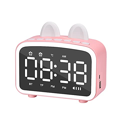 Kids Alarm Clock, Cute Clocks for Bedroom with Speaker,FM Radio,TF Card,Temperature,USB Port,Children Sleep Timer,Night Light Dual Alarm Clock for Girls Kids Clock Pink with Cat Ear Birthday Gifts