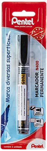 Marcador Permanente Pentel Preto Ponta Redonda, Pentel, Sm/N450-A, Preto