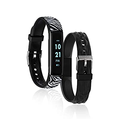 iTouch Slim Waterproof Fitness Activity Tracker, Heart Rate Monitor, Multi-Sports Mode, Pedometer, for Android and iOS Smartphones, Comes with Interchangeable Straps