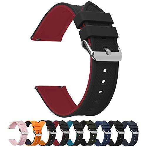 Fullmosa Silikon Uhrenarmband 20mm mit Schnellverschluss in 8 Farben, Regenbogen Weich Silikon Uhrenarmband mit Edelstahlschnalle, 20mm Schwarz Oben/Rot Unter + Silberne Schnalle