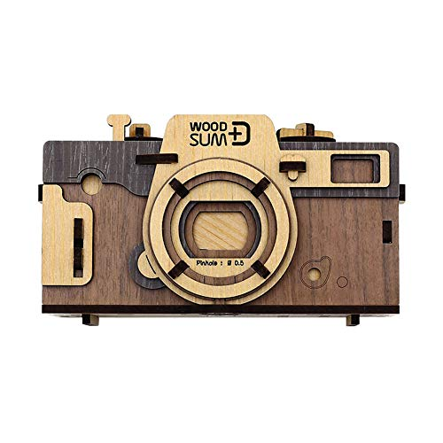 WOODSUM Pinhole Camera Retro (Brown) Fully Functional Wooden 3D Puzzle for Adult DIY Kits