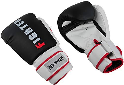 Bad Company Boxhandschuhe aus Kunstleder Fighter Punch I Fausthandschuhe für das Boxtraining I Gewichtsklassen 16 oz I Schwarz/Weiß