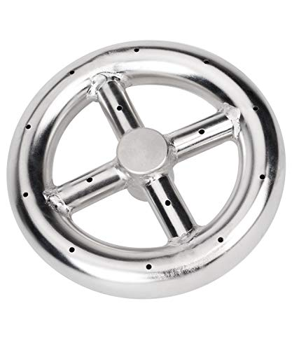 GASPRO 6 Inch Round Burner Ring for Natural Gas or Propane Fire Pit, 304 Series Stainless Steel with Thread Seal Tape, BTU 88,000 Max