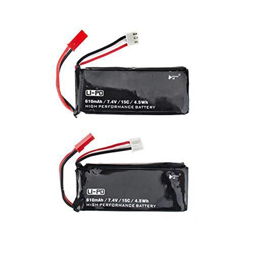 Husban, batteria Lipo di ricambio per quadricottero RC 7.4V 610mAh 15C. Batterie di ricambio per telecomando drone elicottero H502S H502E X 4