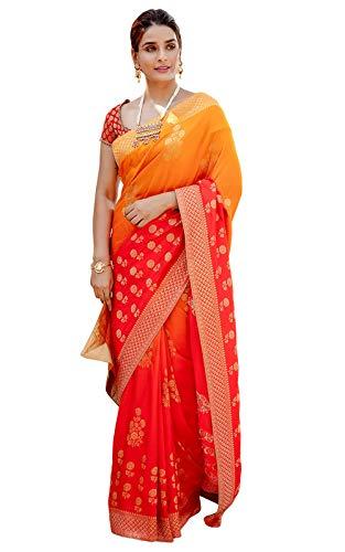 Meena Bazaar Women's Raw Kosa Silk Saree with Blouse Piece (MB2062ORG, Orange & Red )