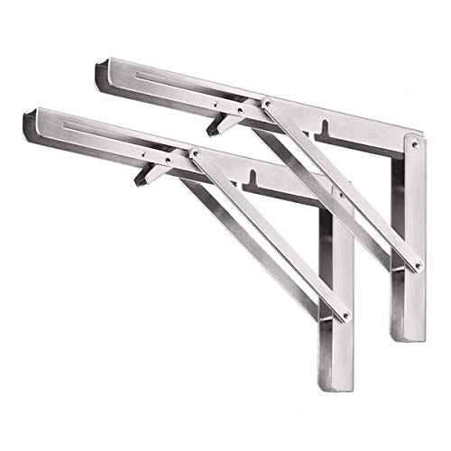 Folding Shelf Bracket 16', Stainless Steel Collapsible Shelf Bracket Wall Mounted for Space Saving, Heavy Duty DIY Triangle Brackets for Table Work Bench, 2PCS