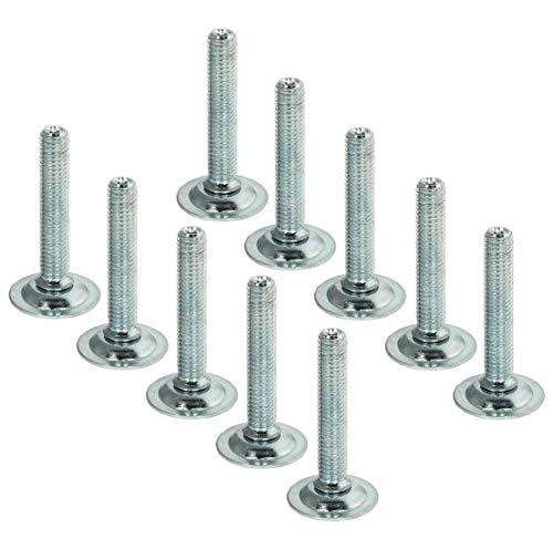 Gedotec Vis de réglage KESA M10 pour pieds de meubles et de table - Longueur : 80 mm - Charge maximale : 300 kg - Vis de réglage en acier galvanisé - 10 pièces - Pieds rotatifs