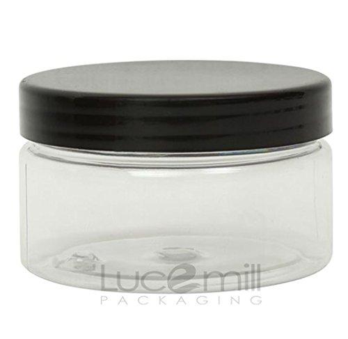Lot de 5 bocaux en plastique transparent avec couvercles à visser noirs pour crèmes, liquides, maquillage, voyages, huiles - 100 ml