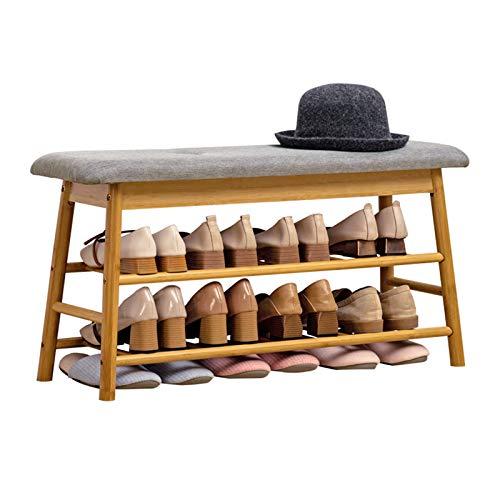 DJFIOSD Zapateros De Bambú Nórdico, Taburete Multifuncional para Cambiar Zapatos para El Hogar Zapatero con Cojines Adecuado para Sala De Estar, Entrada, Dormitorio, Pasillo,Wood Color