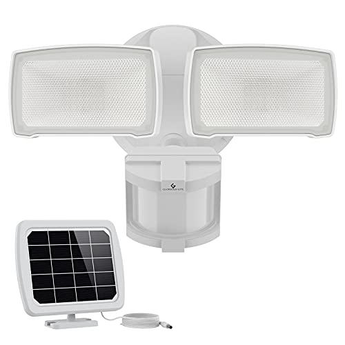 GLORIOUS-LITE Solar LED Security Lights, 2 Head Solar Motion Sensor Outdoor Light, 1000LM LED Flood Light with SolarPanel, 5500K, Easy to Install, IP65 Waterproof for Backyard, Porch