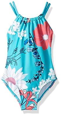 Kanu Surf Girls' Big Jasmine Beach Sport Halter One Piece Swimsuit, Paige Floral Aqua, 12