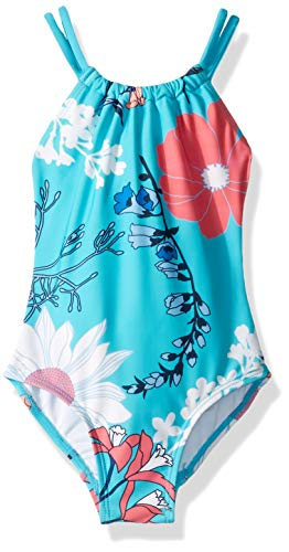 Kanu Surf Girls#039 Toddler Jasmine Beach Sport Halter One Piece Swimsuit Paige Floral Aqua 3T