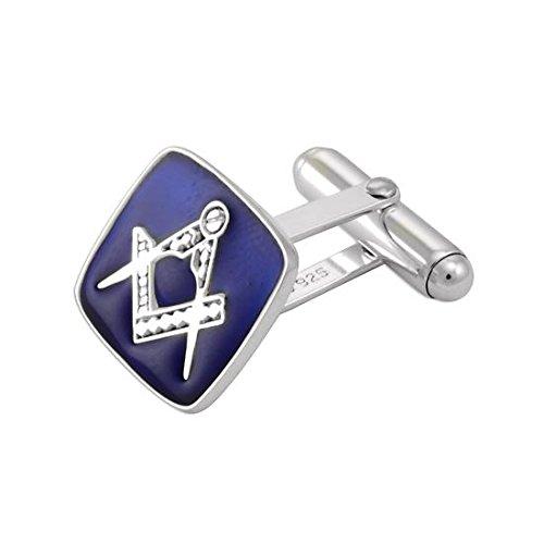 Boutons de Manchette Carrés Maçonniques Bleus en Argent 925/1000 et Email - A tête Pivotante