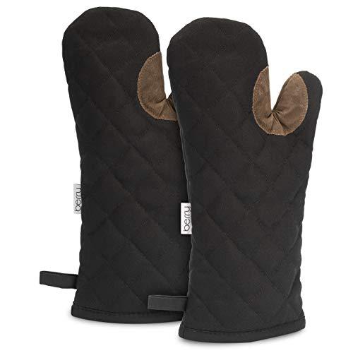 Berry® Ofenhandschuhe - höchste Qualität aus Baumwolle - hitzebeständige Backhandschuhe - extra lang und rutschfest - plastikfrei verpackt