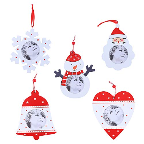 Fautly Christmas Photo Frame Hanging Pendant DIY Wooden Xmas Ornaments Christmas Decorations for Home Bar, 5Pcs