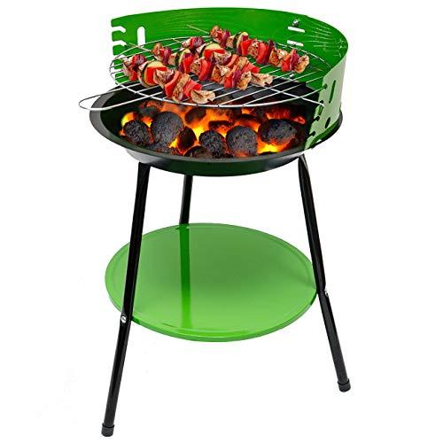 EYEPOWER Holzkohlegrill mit Ablage - Ø35x55cm Standgrill - BBQ Camping Grill klein