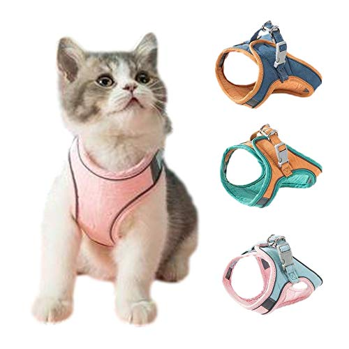 ANCAI Cat Harness and Leash Set - Cat Vest Harness and Leash Set To Outdoor Walking - Easy Control for Small, Medium, Large Cats (M,A)