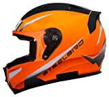 Steelbird SA-1 Whif Full Face ABS Helmet (Large 600 mm, Glossy Fluo Orange White with Clear Visor)