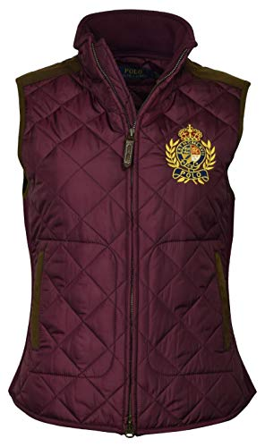 Polo Ralph Lauren Women's Leather Trimmed Quilted Crest Logo Vest - S - Red