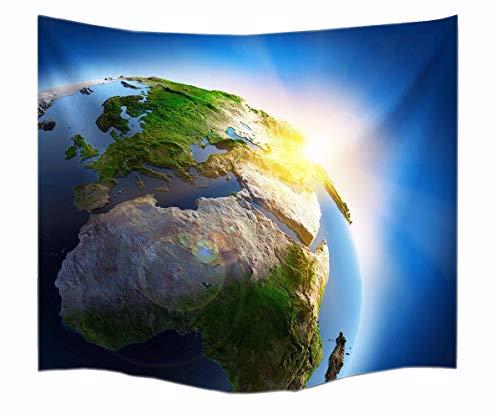 A.Monamour Planète Terre Univers Soleil Extérieur Espace Galaxie Tissu Thème Imprimé Tapisserie Murale Décoration Pendaison pour Accessoire De Salon