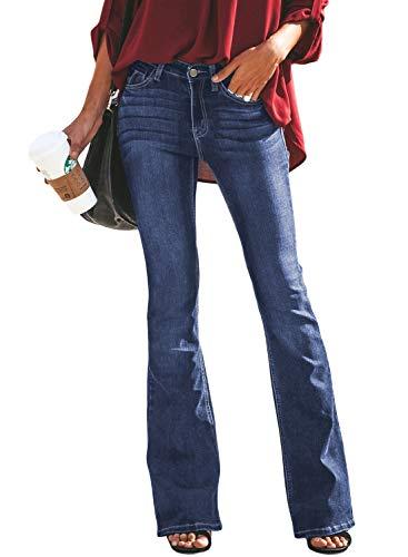 Aleumdr Jeans Donna Svasati Donna Jeans Vita Alta Jeans Denim Donna a Zampa Pantaloni Donna Lunghi - Blu