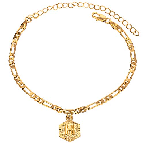 26 Letters 4mm 18k Gold Plated Figaro Chain Initial Anklet for Women Fashion Ankle Bracelet with Alphabet Foot Jewelry with Extension (letter H)
