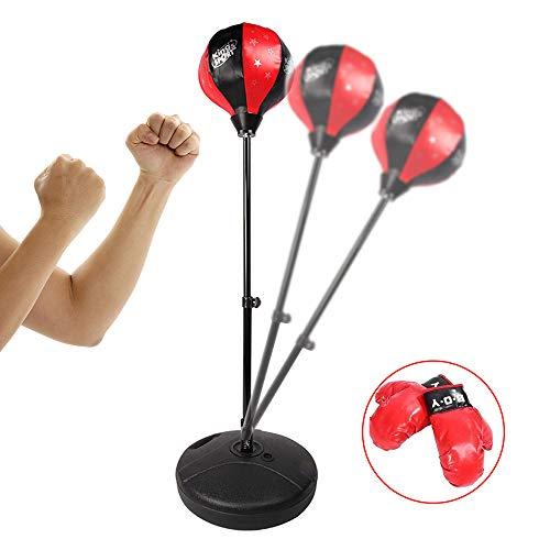YZU Spielzeug Kinder freistehender Boxball, Aufblasbarer freistehender Boxsack, Teenage Fitness Sport Stressabbau, mit Pumpe und Handschuhen,110cm