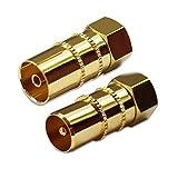 Bild des Produktes 'SAT Adapter Koax Antenne (1x F-Stecker auf IEC Antennenstecker, 1x auf Antennenbuchse), Coax Kupplung für Koaxialka'