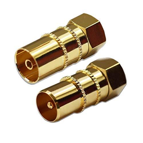 Max-X SAT Adapter Koax Antenne (1x F-Stecker auf IEC Antennenstecker, 1x auf Antennenbuchse), Coax Kupplung für Koaxialkabel Verbinder - Antennenkabel, vergoldet (Adapter, Koax - F)