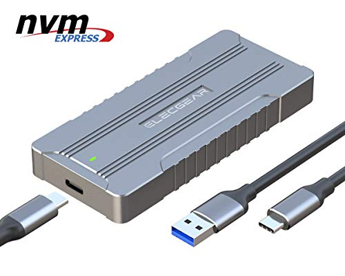 USB 3.1 Externes Festplatte Gehäuse für NVMe PCIe M.2 SSD - ElecGear Aluminium Kühler Adapter Case, 10Gbps NVMe USB C Gen2 Festplattengehäuse, 2280 M2 M-Key NGFF HDD Cooler Enclosure Converter