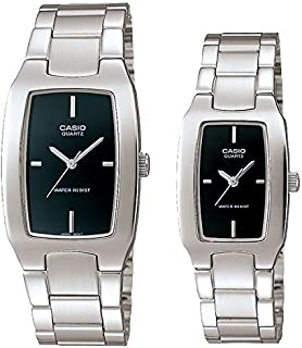 Casio Classic Black Analog Dial Stainless Band His & Hers Couple Watch [MTP/LTP-1165A-1CDF]
