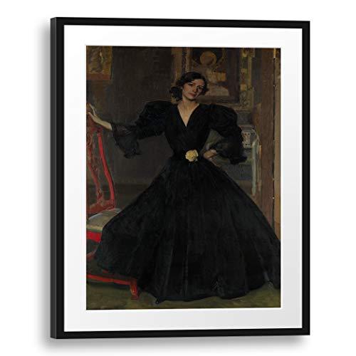 Printed Paintings Passepartout (60x80cm): Joaquín Sorolla y Bastida - Señora de Sorolla (Clotilde García del Castillo, 1865-1929) en Negro