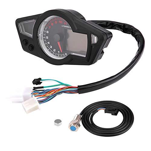 Yagosodee Velocímetro Digital del Odómetro del LCD de La Motocicleta 15000Rpm con Sensor de Velocidad Universal