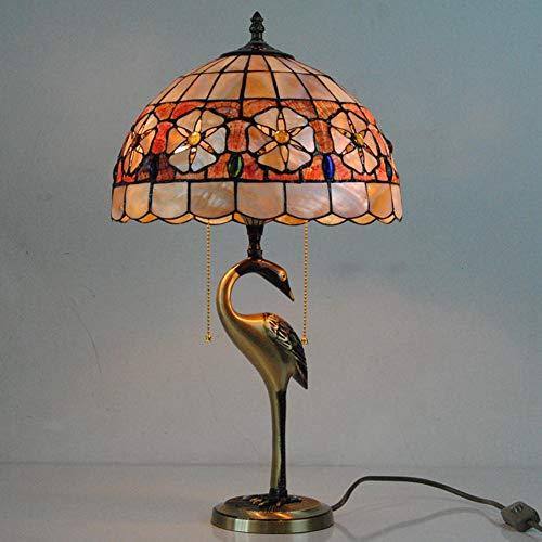 Tiffany-Stil Tischlampe, Swan Design Muscheln Glasmalerei Lampenschirm, 2 Lichter Pull Chain Antik Nachtlicht mit Kupferbasis, Schlafzimmer Nachttischlampe/Nachtlicht