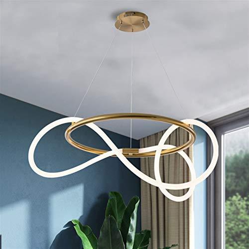 QTWW Lámparas de Hardware Dorado Moderno Candelabro LED Minimalista Estilo de línea Luces Colgantes de Restaurante Sala de Estar Candelabro de atenuación Bar Tira de Cinta Diseño Arte Luces colga
