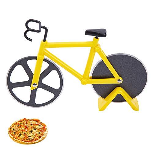 Latauar Divertenti Ruote per Tagliapizza per Bicicletta con Supporto, Affettatrice per Pizza Antiaderente Aon Doppie Lame in Acciaio Inossidabile Ideale per Gli Amanti della Pizza